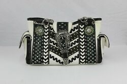 Cowgirl Trendy White Western Decorated Purse Turquoise color stones