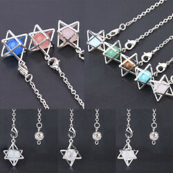 Natural Stone Merkaba Pendulum Drowsing Hexagon Crystal Necklace Reiki Healing