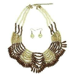 Wood and Gold Beaded Necklace with Matching Dangling Earrings