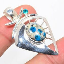 African K2 Azurite Blue Topaz 925 Solid Sterling Silver Pendant 1.81