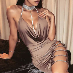 Sexy Deep V Women's Bandage Bodycon Evening Party Cocktail Club Short Mini Dress