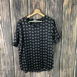 equipment Blouse Large 100% Silk Black White Heart Print Short Sleeve Casual