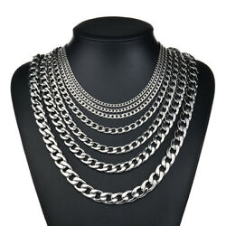 18quot; 30quot; Stainless Steel Silver Tone Chain Cuban Curb Mens Necklace 3.5 5 7mm $6.02