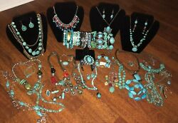 50 Pc Lot Turquoise Silver Tone Necklace Cuff Ring Bracelet Silver Southwest
