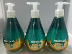 Lot of 3 Method Naturally Derived Liquid Gel Hand Wash Soap Frosted Fir 12 oz