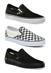 Vans Classic Slip on Shoes Mens Sneakers Black Checkerboard All Black NEW $51.50