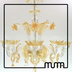 Chandelier Glass 6 Lights 31 12x31 12in Clear and Amber Certified. Original
