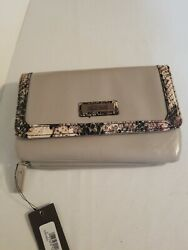 Kenneth Cole Reaction Wallet Clutch Snap Clasp Gray New