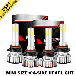 4-Sides Combo 9005 9006 LED Headlight Kits Mini Light Bulbs High Beam Error Free