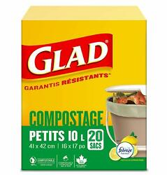 Glad Kitchen Compost Bags 2.6 GallonGreen Trash Bag20 counts pack 6 packs C $49.99