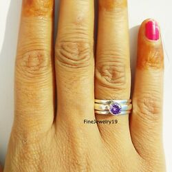Amethyst 925 Sterling Silver Spinner Ring Meditation Statement Jewelry A69