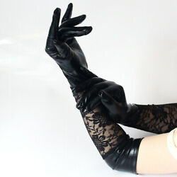 Long Patent Leather Lace Sexy Gloves Sexy Lace Stitching Glove Performance Glove