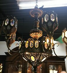 Vintage Moroccan Chandelier Brass Like Finish with Prisms $875.00