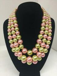 Light Pink and Green 3 Layer Graduating Pearl Necklace with Silver Hardware ( 00