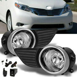 Fit 2011 2015 Toyota Sienna Clear Bumper Fog Lights Driving Lamp SwitchBulb