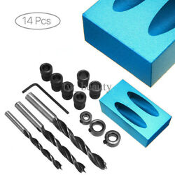 14X Pocket Hole Jig Kit 15°Angle 6810mm Adapter Drill Locator Woodworking Tool