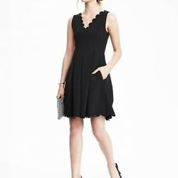 Banana Republic Black Scalloped Pleated Fit and Flare Dress 10P Cocktail Party $39.99