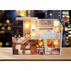 Dollhouse Miniature DIY Kit with Cover Wood Toy Doll House Cottage WLED lights