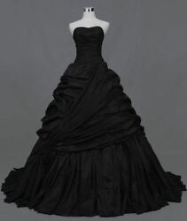 Black Taffeta Strapless Ball Gown Bridal Gown Gothic Wedding Dress Custom Size