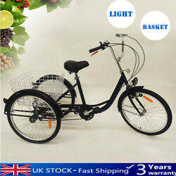 Brandnew 24 inch Adult Tricycle  6 Speed 3 Wheel Seniors Cruiser Trike Shopping
