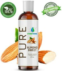 Sweet Almond Oil 4 oz 100% Pure Organic Carrier For Skin Face Hair and Massage $6.95