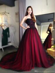 Burgundy Gothic Wedding Dress Sweetheart Mermaid Beaded Bridal Gown Custom Size