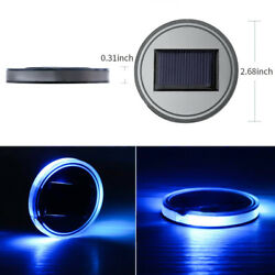 Set of 2pc LED Solar Panel Car Auto Coaster Cup Pad Mat Bottle Atmosphere Holder