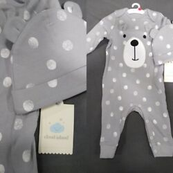 Baby Boys 3 6 month 2pc Bear Coverall Set Cloud Island $11.99