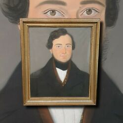Antique Biedermeier Herreportrait. Pastel Painting IN Real Gold Frame $639.05