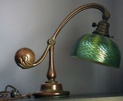 Authentic Tiffany Studios Counterbalance Desk Lamp #417 with 7