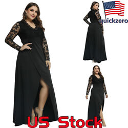Ladies V-Neck Lace Stitching Long-Sleeved High-End Temperament Elegant Dress US