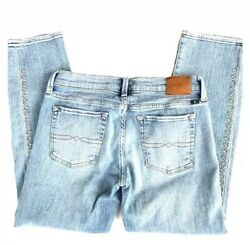 Lucky Brand 226 $99 Womens Light Blue Embroidered Sweet Crop Jeans