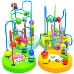 Baby Toy Wooden Puzzle Circle 12 colorful Beads Maze Roller Coaster Baby Toy