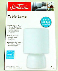 SUNBEAM MODERN TABLE LAMP WHITE W FABRIC SHADE AND METAL BASE LIGHT ENERGY STAR $12.95