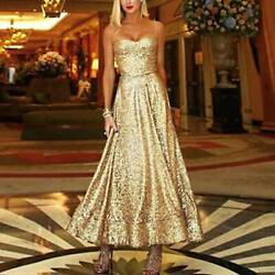 Women Sexy Halter Sleeveless Swing Dress Ladies Sequin Glister Prom Party Gown