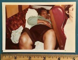Vintage 80s PHOTO Picture Black woman laid passed out sleeping on a bus