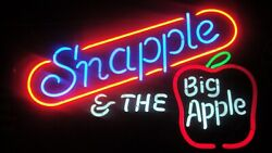 VTG 80'S NEON SIGN-LIGHT-SNAPPLE & THE BIG APPLE-MAN CAVE-SHE SHED-RARE-NEW-NYC