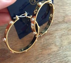 NWT Tory Burch Pierced T Pearl Hoop Earrings Gold with Pouch  FREE SHIPPING!