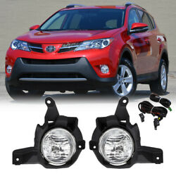 Fit 2013 2015 Toyota RAV4 Pair Front Bumper Clear Lens Fog Lights Lamps w Switch