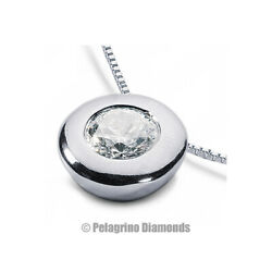 1.85 CT H-SI1 Round Cut Natural Certified Diamond 18kw Gold Solitaire Pendant