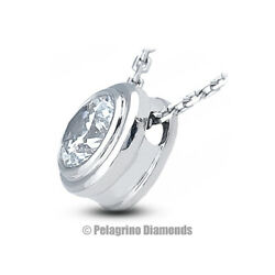 1.47 CT F-VS2 Round Cut Natural Certified Diamond 14kw Gold Solitaire Pendant