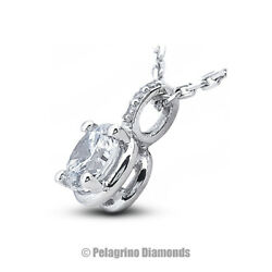 2.64 TCW D-SI1 Round Cut Earth Mined Certified Diamonds Platinum Classic Pendant