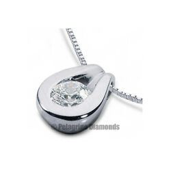 2 12ct D SI1 Round Cut Earth Mined Certified Diamond Platinum Solitaire Pendant