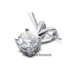 3ct D SI2 Round Natural Certified Diamond 18kw Gold Classic Solitaire Pendant
