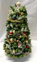 Vintage Pipe Cleaner Miniature Doll House Christmas Tree Heavily Decorated