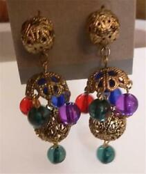 Great for Christmas Chandelier Earrings Gold Filigree Colorful Dangle Beads $5.99