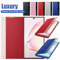 For Samsung Galaxy Note 10 Plus S9 S8 Clear View Flip Case Windows Smart Cover