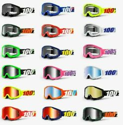100% STRATA Goggles -ALL COLORS- Offroad MX MTB Motocross - CLEAR OR MIRROR LENS $25.00