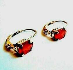 Top Quality Antique 19c Imperial Russian 56 Gold Ruby Earrings Hallmarked
