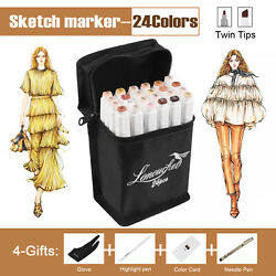 24 Color Skin Tones Markers Pen Alcohol Graphic Art Sketch Drawing for Manga